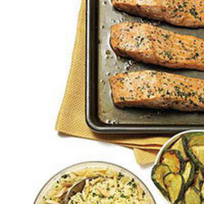 Roasted Salmon with Zucchini and Nutty Couscous