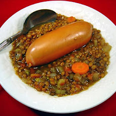 Lentil & Frankfurter Soup in Crock Pot
