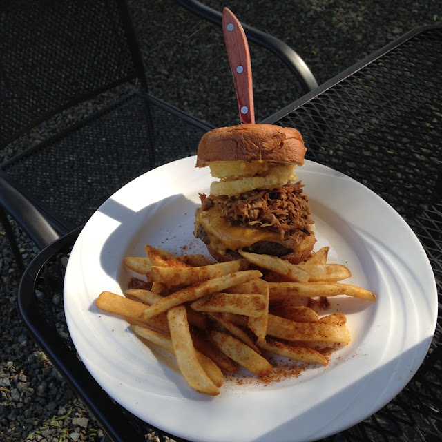 The delicious GF 8oz Angus with pulled pork burger!  These were beer battered GF fries :)