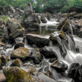 Dunkeld Waterfalls by Ben Hodges - Landscapes Waterscapes ( water, scotland, uk, forrest, waterfalls, hdr, waterfall, long exposure, rock formation, rocks )