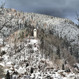 Snowy village on a hill by Tina Wiley - City,  Street & Park  Neighborhoods ( icy, europe, church, neighborhood, snowy, landscape, woods, hillside, barren, winter, nature, village, cold, black forest, castle, germany, town, homes )