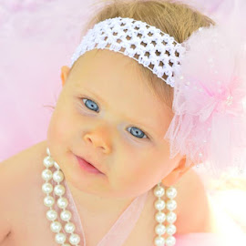 Pretty in Pink! by Nebula Bremer - Babies & Children Toddlers ( pearls, blue eyes, pink, soft )