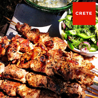 Pork Souvlaki With Cucumber Salad And Tzatziki