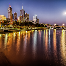 Melbourne Town by Gary Beresford - City,  Street & Park  Night ( reflection, moon, melbourne, australia, long exposure..., yarra )