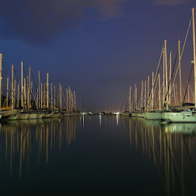 Peace revisited  by Marc-Antoine Kikano - Transportation Boats ( mirror, calm, reflection, sailboats, boats, yacht, sea, night )