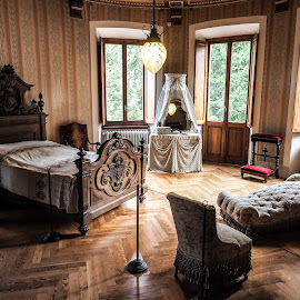 Queen's room by Mauro Amoroso - Artistic Objects Antiques ( gressoney, aosta, savoia, queen, margherita, castle, italy, room )