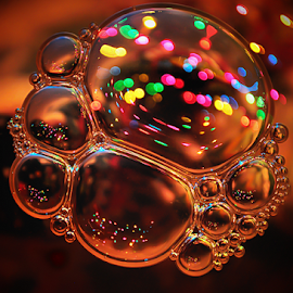 Coccinelle de Noël by Claudine Durocher - Abstract Macro ( lights, water, noël, colors, lumières, christmas, bubbles, couleurs, eau, bulles,  )