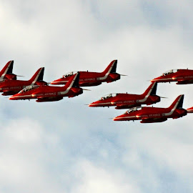 Reds Display by Kelly Murdoch - Transportation Airplanes ( clouds, red arrows, reds, sky, ztam photography, fly, display, air, isle of wight, raf,  )