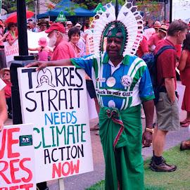 Torres Strait Needs Climate Action by Andrew Rock - News & Events Politics ( sign, australia, protest, kodak portra 160, canon canonet ql17 giii,  )