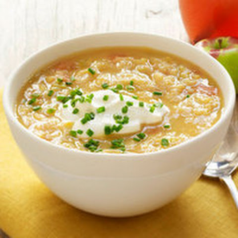 Golden Split Pea Soup with Sour Cream and Chives