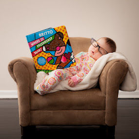 Baby Brainiac by Mike DeMicco - Babies & Children Babies ( brainiac, babygirl, reading, glasses, funny, baby, sleeping, passed out, cute )