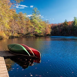 Fall on the Plateau by Lowell Griffith - Transportation Other ( water, canoe, fall color )