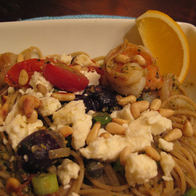 Lemony Shrimp and Pesto Pasta