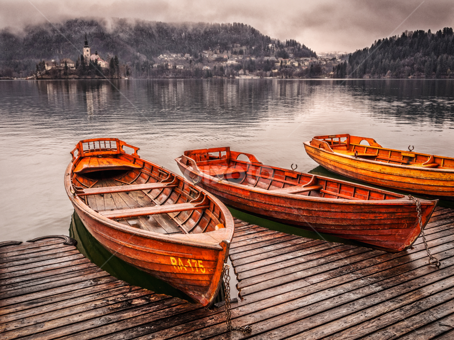 Lake Bled by Dobrinovphotography Dobrinov - Transportation Boats ( reflection, church, gorenjska, island lake, lake, beauty in nature, landscape, island, autumn, no people, slovenia, bled, santa maria church, cloud )