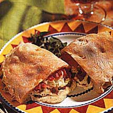 Calzones with Cheese, Sausage and Roasted Red Pepper