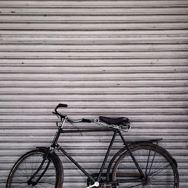 A Veteran Bic by Escahmo Kwok - Transportation Bicycles ( pattern, transport, vintage, black and white, bicycle )