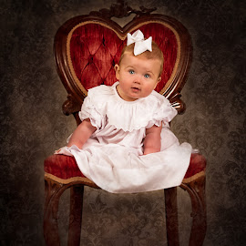 Sweet Stare by Jody Johnson - Babies & Children Child Portraits ( red chair, vintage, photorad, blue eyes, victorian )