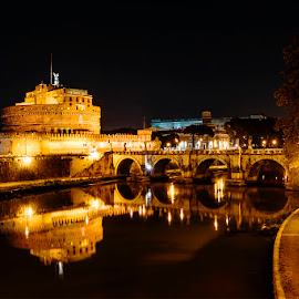 Still water by Alexandra Nicolau - Buildings & Architecture Public & Historical ( lights, water, florence, castel sant' angelo, firenze, night, castle, bridge, river,  )