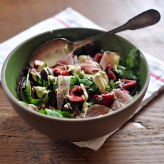 Cherry and Prosciutto Salad with Creamy Mustard Dressing