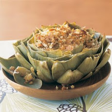 Baked Artichokes with Tuna and Sourdough Bread Crumbs