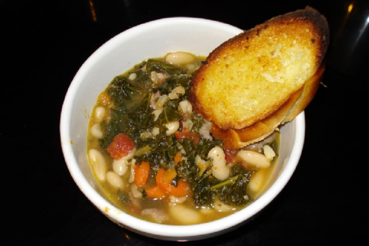 Cheese Tortellini Soup with Cannellini, Kielbasa, and Kale