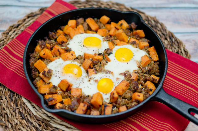 Sweet Potato Hash with Sausage and Eggs Recipe | Yummly