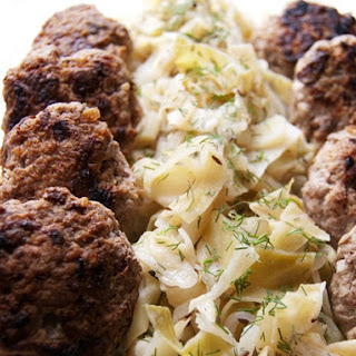 Pork Sausage Patties With Braised Cabbage and Apples