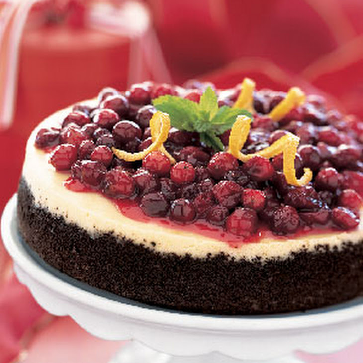 Cranberry-Orange Cheesecake with Chocolate Crust