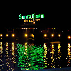 Santa Maria at Night by Jan Herren - Buildings & Architecture Other Exteriors ( st. augustine, santa maria, restaurant, waterfront,  )