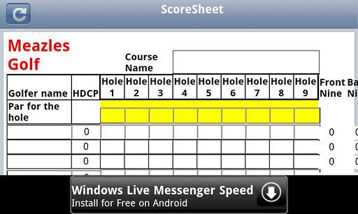 Meazles Golf Score Keeper