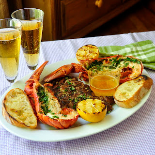 Grilled Herb Lobster Surf n Turf with Lemon Garlic Brown Butter