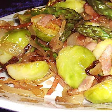Caramelized Onion-(Sometimes Bacon)-And Pecan Brussels Sprouts