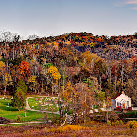 Hyde Church by John Larson - Landscapes Prairies, Meadows & Fields ( field, sky, church, color, cemetery, fall, trees, road )