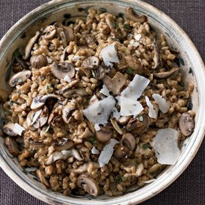 Risotto-Style Farro with Porcini and Pecorino