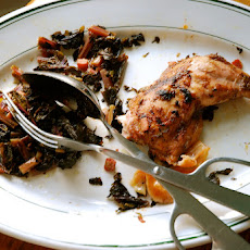 Ramp Jerked Chicken with Roasted Ramps and Kale