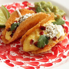 Soft Scrambled Egg and Chorizo in Crispy All-Cheese Taco Shells