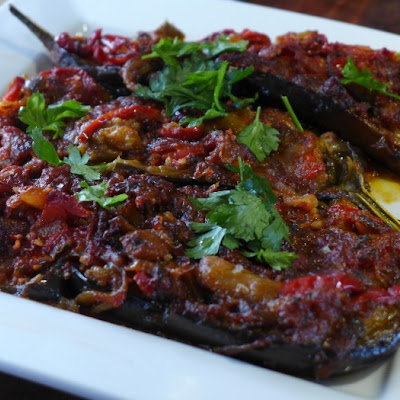 Imam Bayildi (the Imam Fainted) - Turkish Stuffed Eggplant