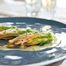 Crab-Stuffed Zucchini Flowers with Mustard Butter Sauce