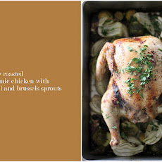 Whole Roasted Balsamic Chicken with Fennel and Brussels Sprouts