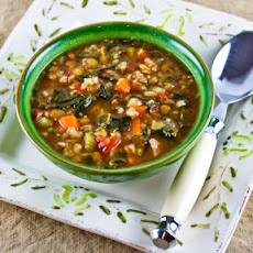 Double Lentil, Sausage, Brown Rice, and Spinach Soup