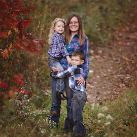 Fall Family Portrait by Jenna Schwartz - People Family ( vintage, daughter, son, leaves, rustic, mom, country, field, sister, girl, ohio, autumn, color, family, fall, trees, brother, boy )