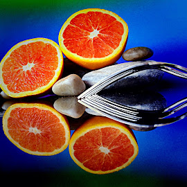 Forks and orange by Janette Ho - Artistic Objects Still Life ( blue, orange. color,  )