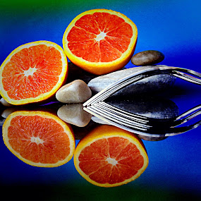 Forks and orange by Janette Ho - Artistic Objects Still Life ( blue, orange. color, , colorful, mood factory, vibrant, happiness, January, moods, emotions, inspiration )