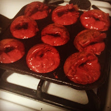 Red Velvet Aebleskiver with Ricotta Cream Filling