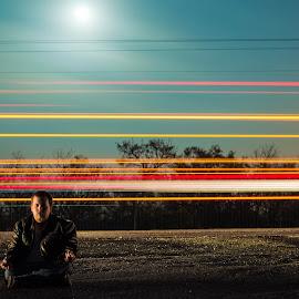 Meditatation by Jacob Sheppard - People Portraits of Men ( lights, artsy, meditation, night, fun )