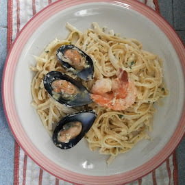 seafood spaghetti carbonara by Michael Wong - Food & Drink Cooking & Baking ( shirley lee, antonio wee )