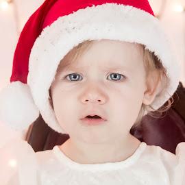 Santa Hat Funny Face by Jenny Hammer - Babies & Children Babies ( silly, girl, funny face, santa, baby, hat )