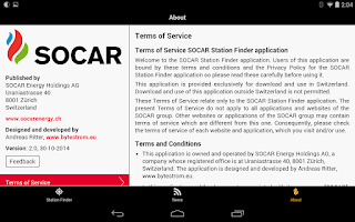 Screenshot of SOCAR Station Finder