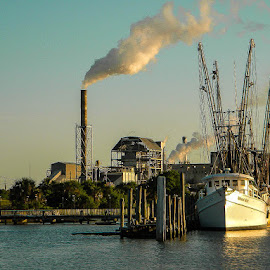 Shrimp Boats by Jan Herren - Transportation Boats ( shrimping, paper mill, fernandina beach, boat, amelia river )