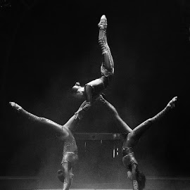 Circus Acrobats In Low Light by Stephen Beatty - People Musicians & Entertainers (  )
